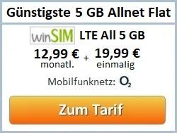 günstigste 5 GB Allnet Flat